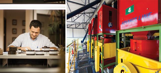 Pedro Zibordi Neto, responsável pela compra e degustação no armazém da Fal Café; e o maquinário colombiano para processamento do grão na Fazenda Santa Izabel