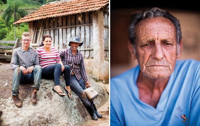 Alfredo Mengali cultiva a história da cafeicultura local, perpetuando o que começou ainda com seus avós imigrantes. Ao lado, Regiana, José Clovis e o filho Douglas Henrique em dia de trabalho no Sítio Gruta São Francisco