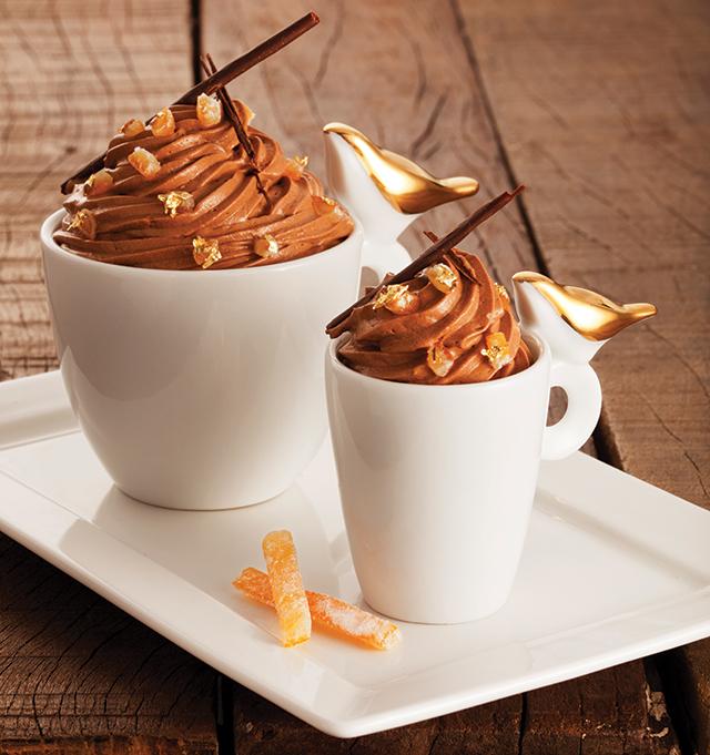 musse de chocolate com laranja e café